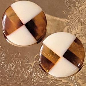 Vintage Geometric Cellulose Stud Earrings